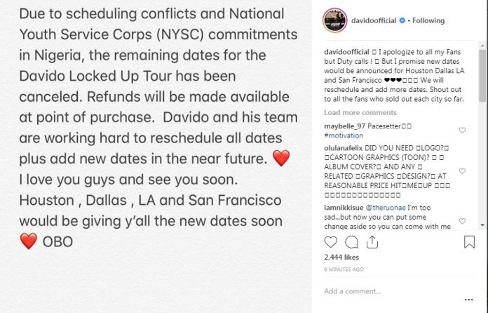 Davido cancel all Locked Up tour, for NYSC Camp