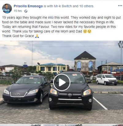 19 year old Nigerian female blogger buys 2 cars for her parents lailasnews 1
