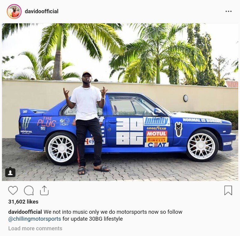 Davido dives into Motorsport business, shares new photo to prove it