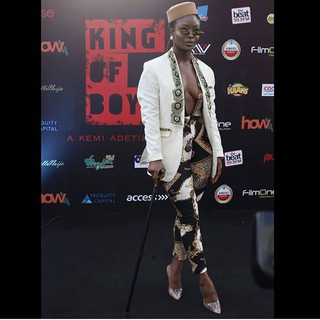 """Folu Storms goes Braless in Open Chest Outfit To """"King Of Boys Premiere"""""""