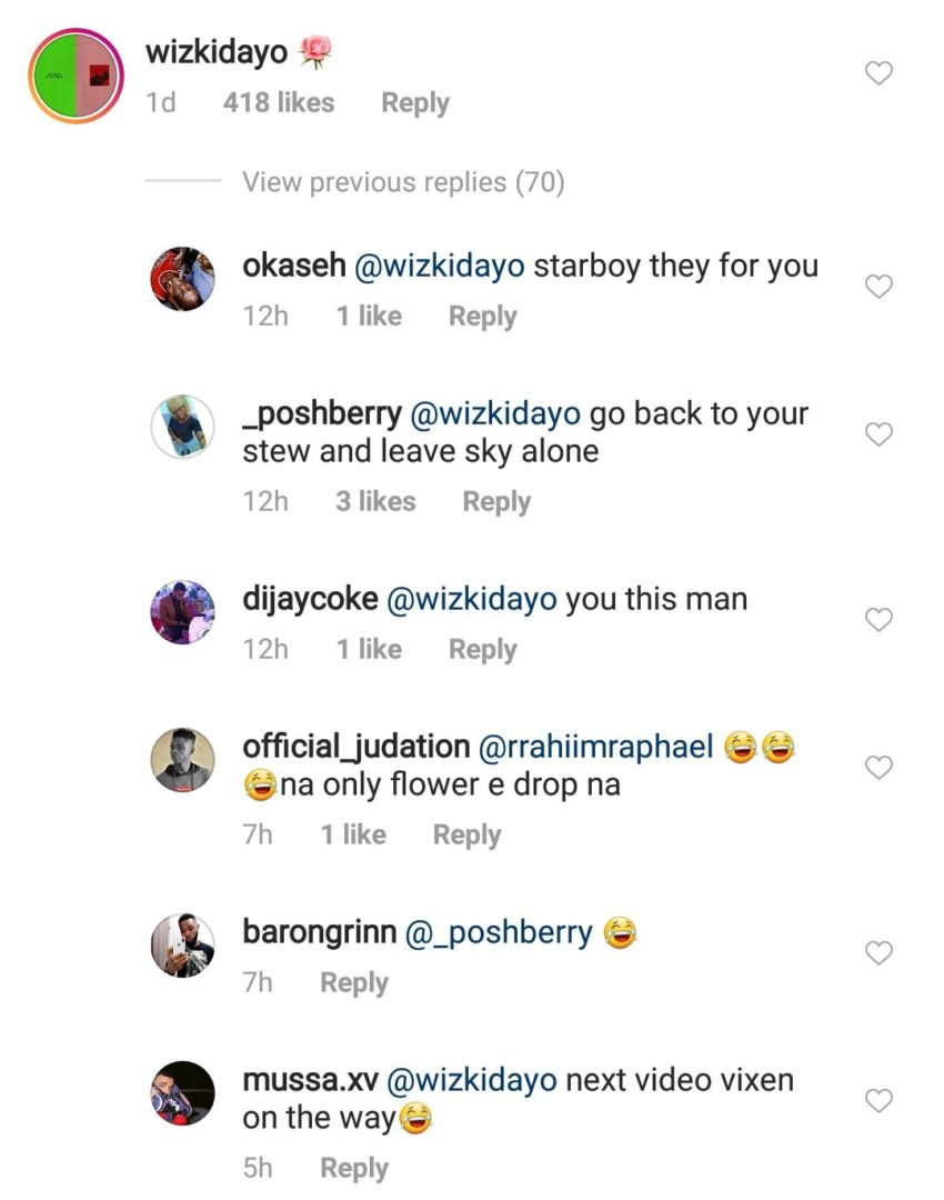 Wizkid dragged by fans over this comment on ex,Justin Skye's photo