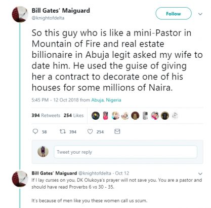 Twitter user drags billionaire Mountain of Fire pastor asking his wife out