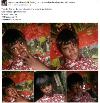 Young lady celebrates after losing her virginity on Facebook