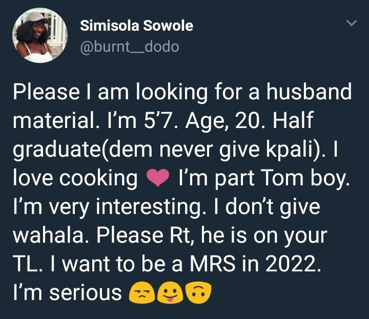 20-year-old Nigerian Lady declares she wants to be a wife in four years time