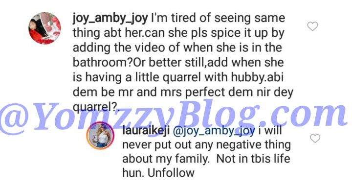 Laura Ikeji Slams Fan Who Said She Should Post About Negatives In Her Marriage