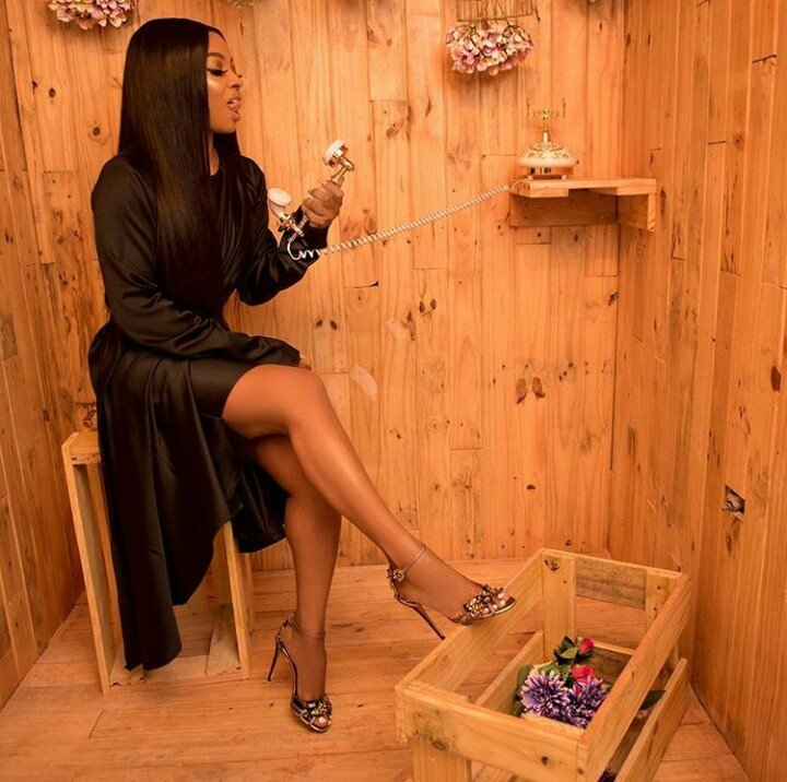 The Black Panther! Toke Makinwa Rocks Black Short Gown In New Photos