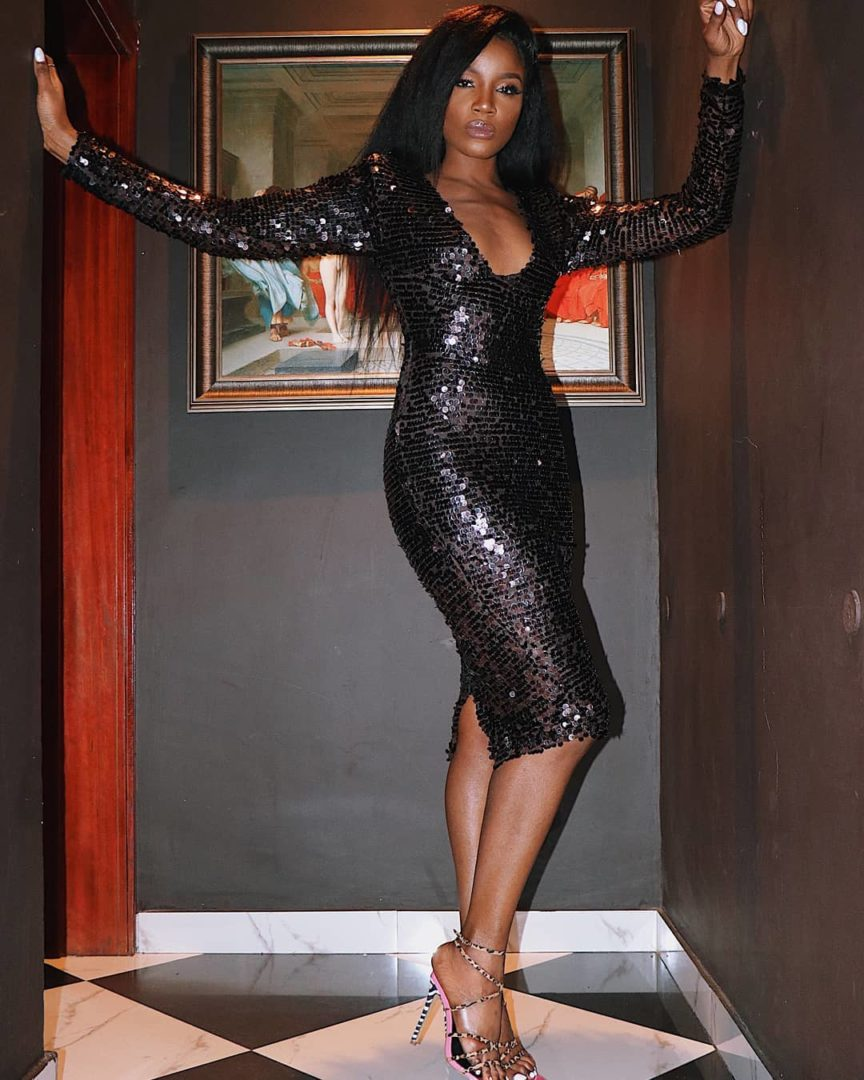 Singer Seyi Shay goes braless in a Cleavage Baring Adey Soile Dress for her 33rd Birthday