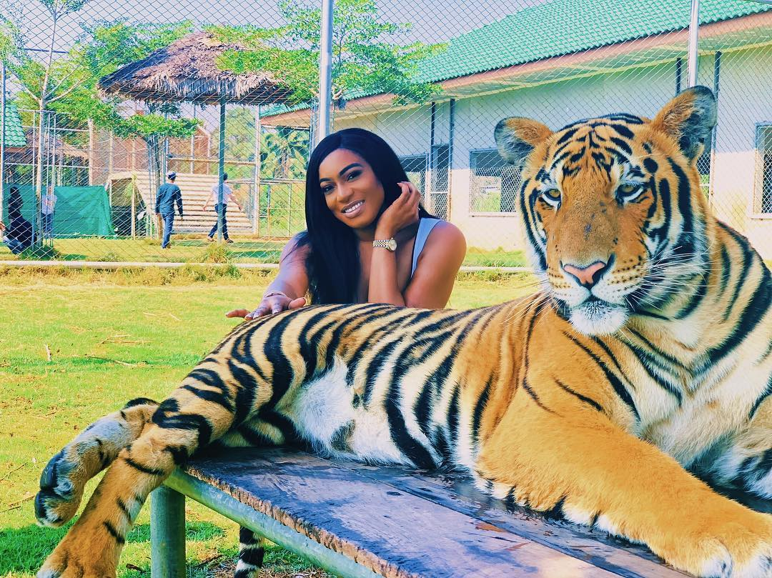 Nollywood actress , Chika Ike poses with Tiger on Boxing Day