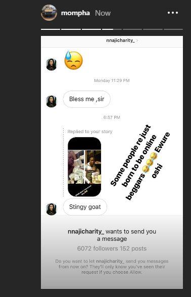 Mompha Shames 'Beggar' Charity Nnaji For Calling Him 'Stingy Goat'