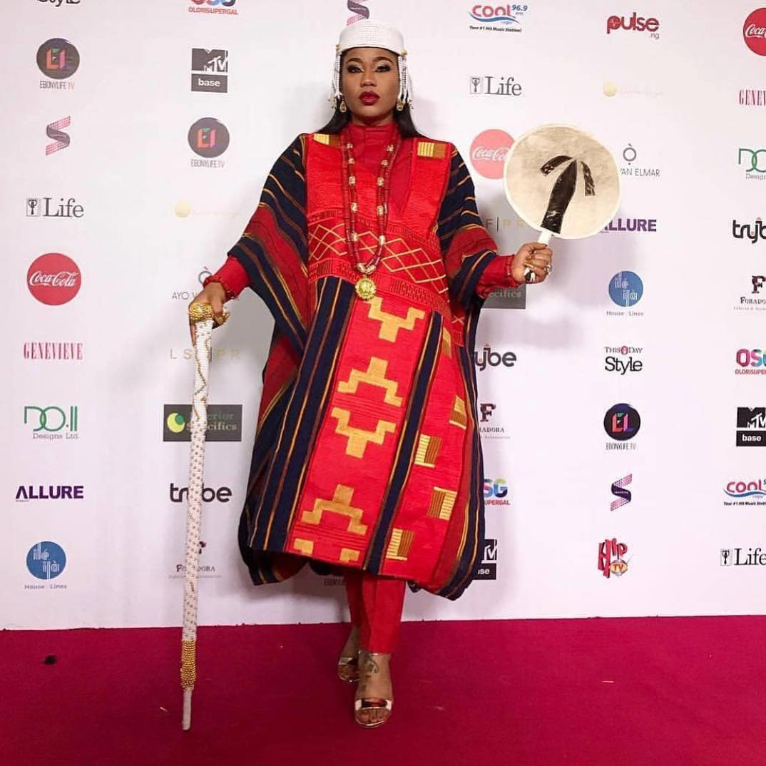 Toyin Lawani Steps Out As A King To The Movie Premier Of Chief Daddy