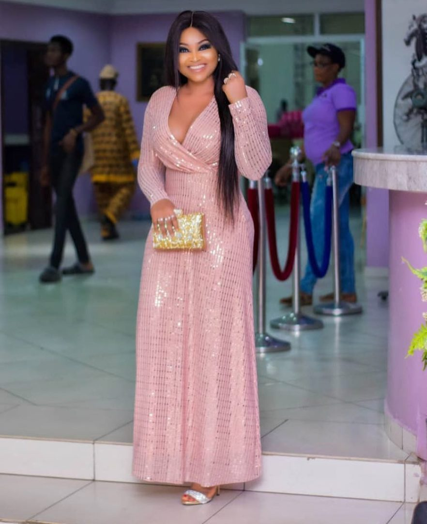 Mercy Aigbe flaunts her boobs