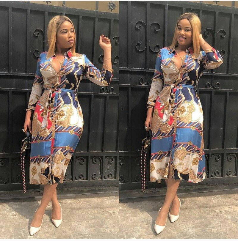 Actress Onyii Alexx flaunts her big watermelon in a Cleavage-baring Outfit
