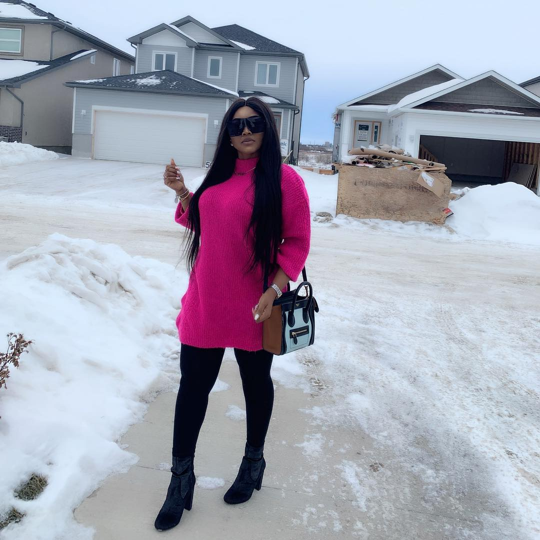 Mercy Aigbe shares lovely photos from vacation in Winterpeg, Canada