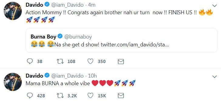 Davido Congratulates Burna Boy On His 4 Awards At Soundcity MVP Awards