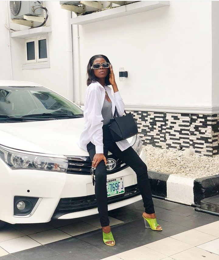 'My Car Is Back': BBNaija's Khloe Strikes A Pose With Her Car (Photos)
