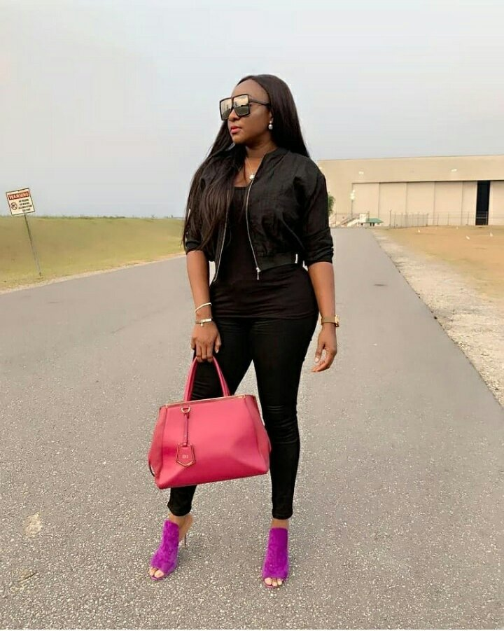 Actress Ini Edo rocks chic color combo outfit in new photos