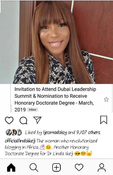 Linda Ikeji Bags Another Honorary Doctorate Degree In Dubai