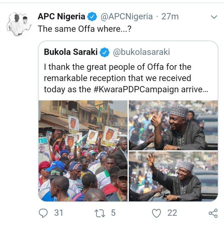 APC Reacts To Bukola Saraki Drives Into Offa Town In Kwara State (photos)