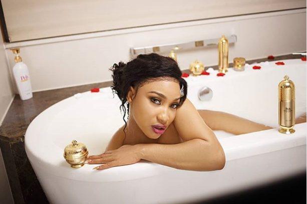 Actress Tonto Dikeh strips down for a photo-shoot in a bathtub