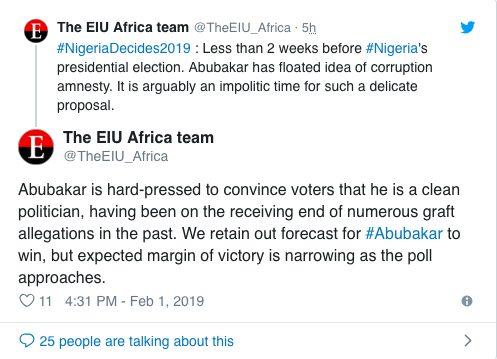BREAKING: Atiku Will Win 2019 Presidential Elections - The Economist Magazine