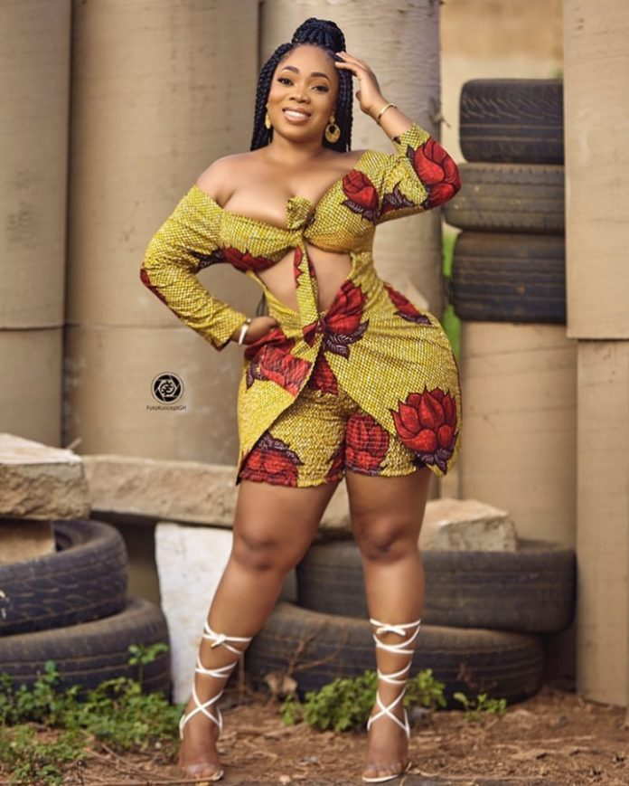Curvaceous Ghanaian actress,Moesha Boduong Slays In Sexy Ankara Bra Dress