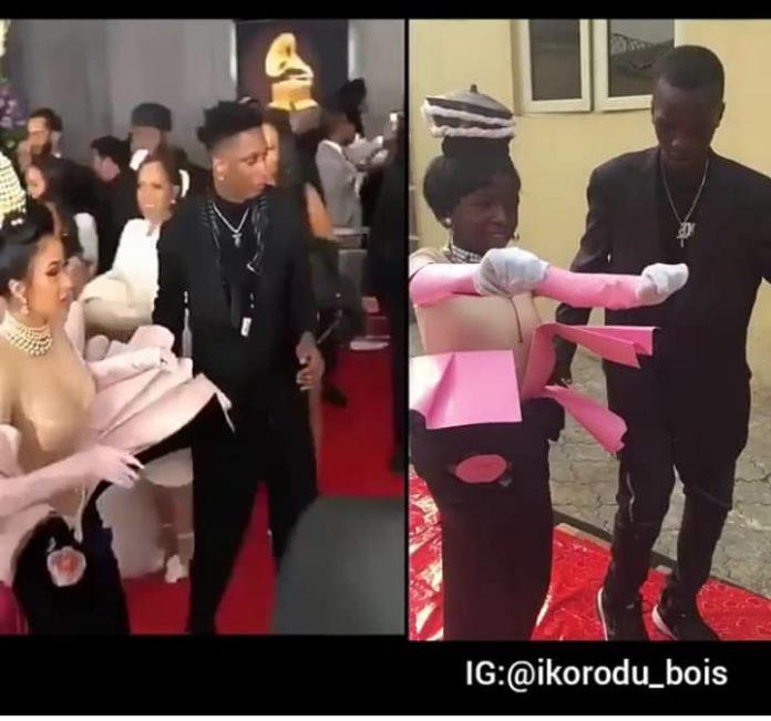 Ikorodu Bois Recreate The Moment Cardi B Stormed 2019 Grammy Awards