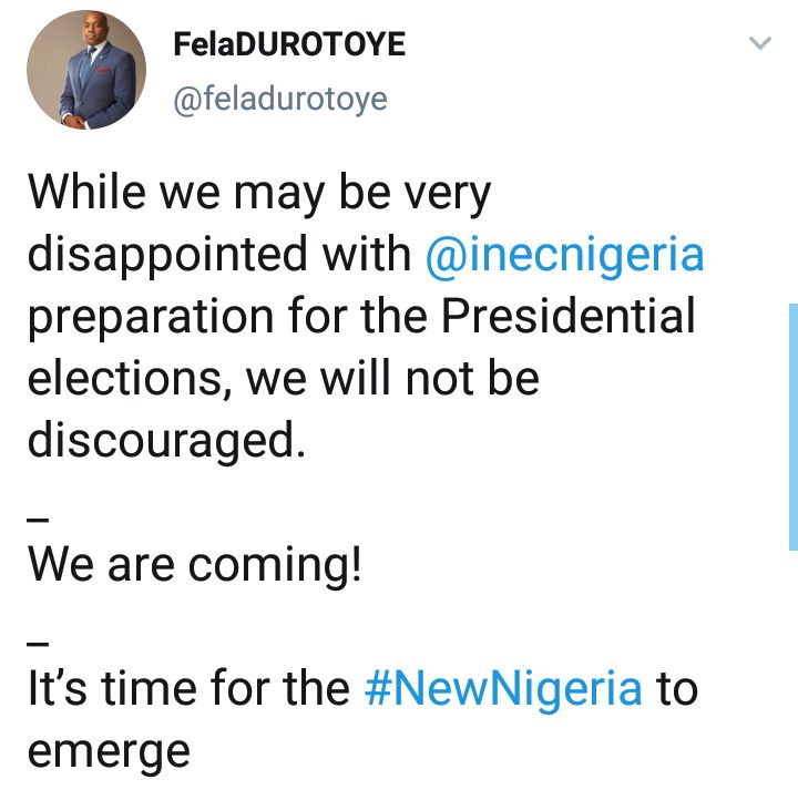 ANN Presidential Candidate, Durotoye Reacts As INEC Postponed General Elections