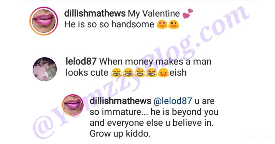 Dillish Matthews Defends Boyfriend, Adebayor after a troll body shammed him