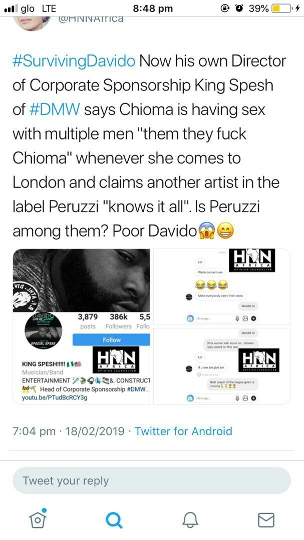 Kemi Olunloyo Leaks Chats Of Spesh Saying Chioma Goes To Have Sex With Men In London