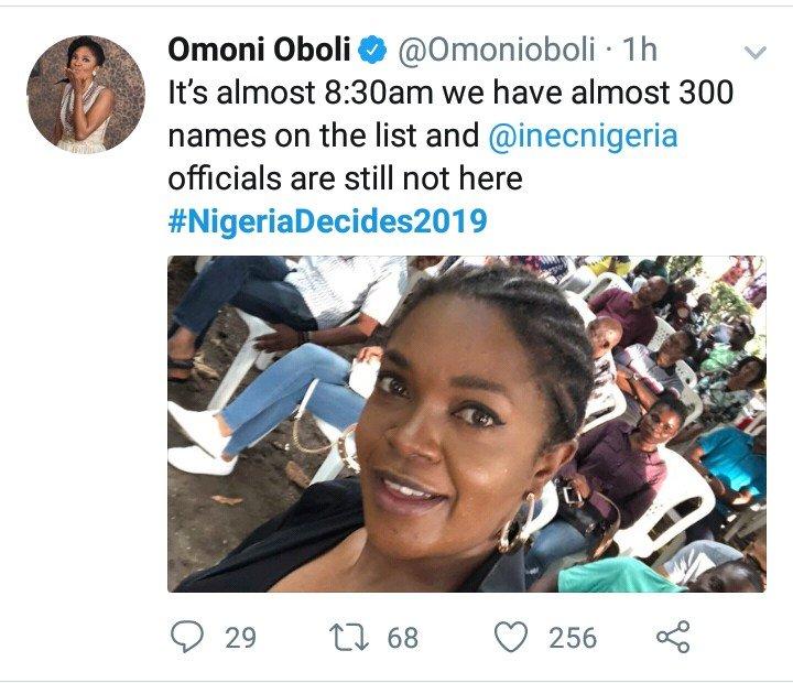 Omoni Oboli On The Queue, Laments INEC Officials
