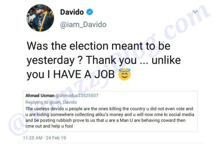 Davido mocks JOBLESS Nigerians whom voted, says I have a JOB