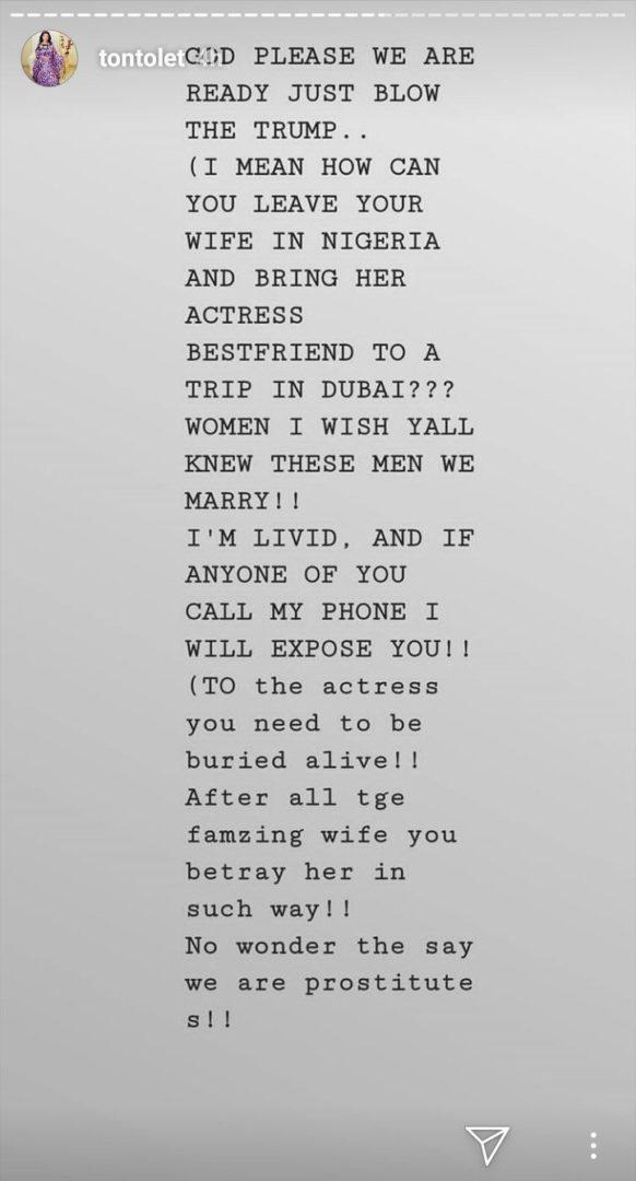 An Actress Is In Dubai With Her Friend's Husband - Tonto Dikeh Spills the Tea