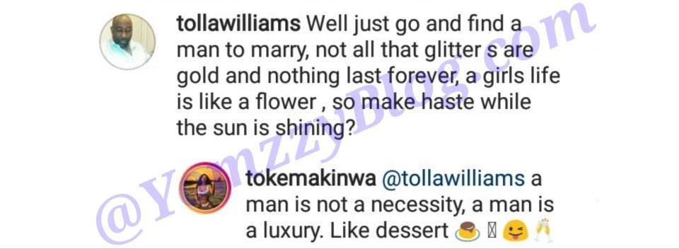 Toke Makinwa Replies Fan Who Told Her To Get Married Before It Is Too Late