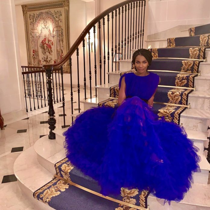 Agbani Darego Looks Awesome In Blue Flay Gown
