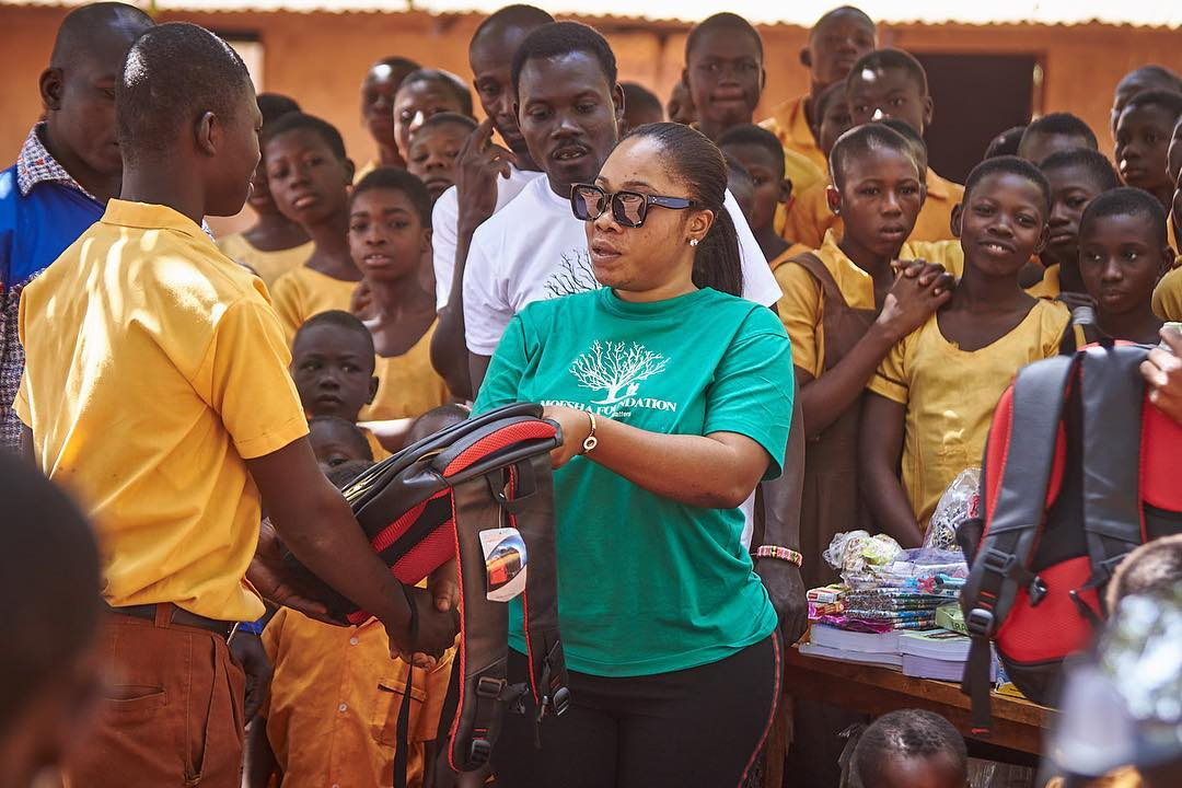 Moesha Boduong Celebrates Her Birthday With Students, Gift Them School Items