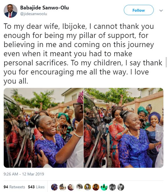 """""""I Cannot Thank You Enough For Being My Pillar Of Support"""" - Sanwo-Olu To Wife"""