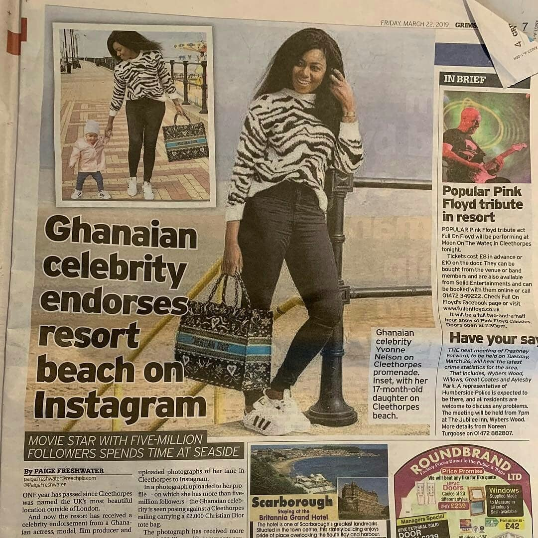 Actress Yvonne Nelson & Daughter featured in her Baby Daddy's UK newspaper