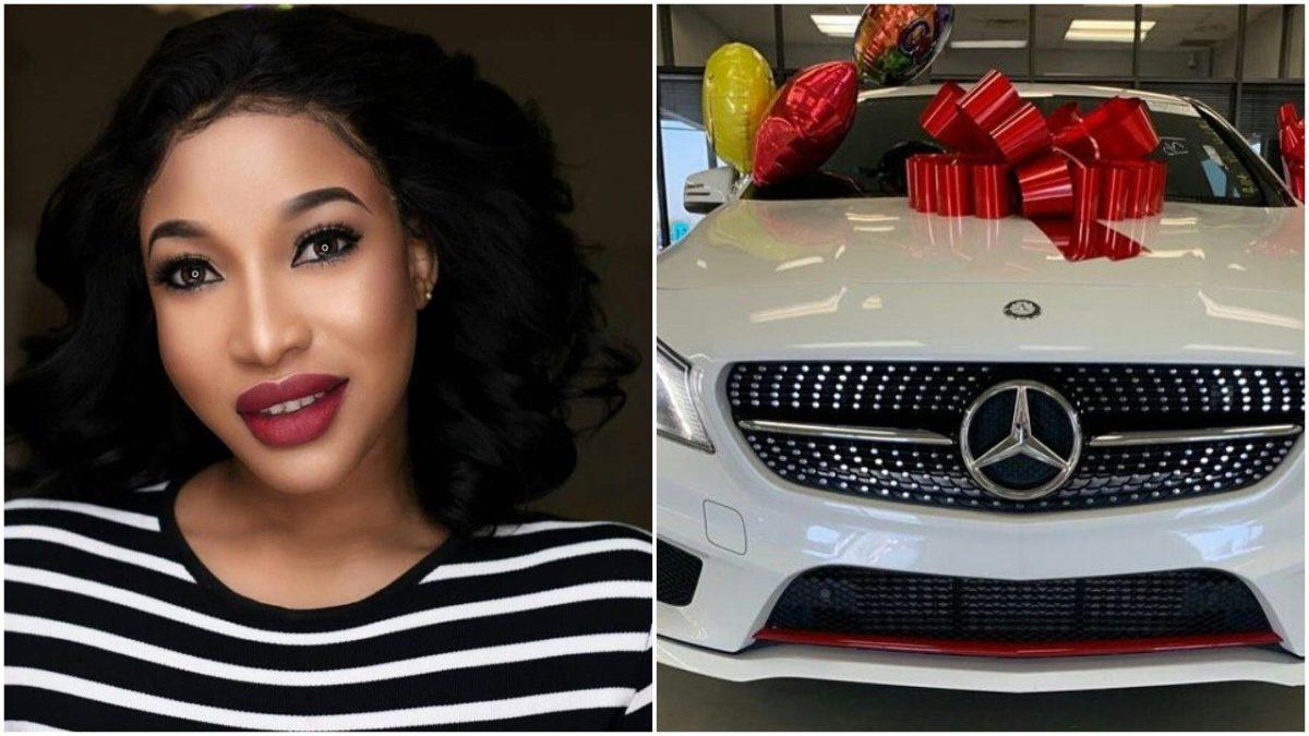 Nigerian Actress, Tonto Dikeh Celebrates Bobrisky's new Mercedes-Benz