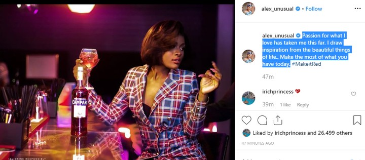 Alex Asogwa is back on Instagram, as she becomes Campari's new Ambassador