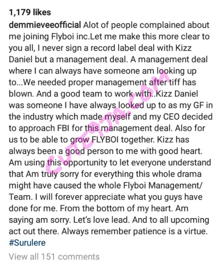 I Never Sign A Label Deal With Kizz Daniel, As artiste Demmie Vee begs Kizz Daniel for forgiveness.