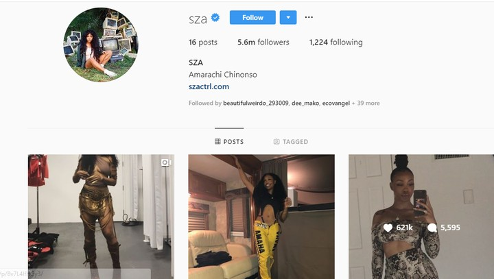 """American Singer SZA changes Her Name On Instagram To """"Amarachi Chinonso"""""""