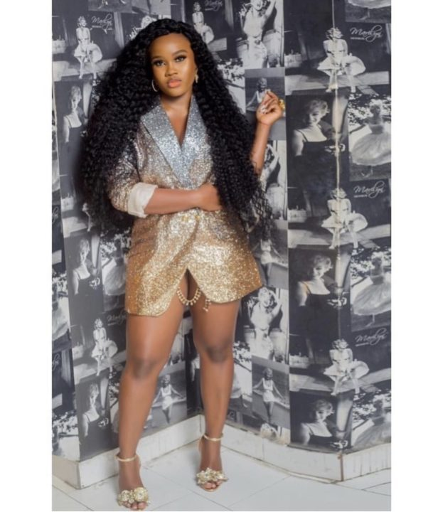 Cee-C Breaks the Internet in Golden Lingerie Dress to Bambam's Birthday Party