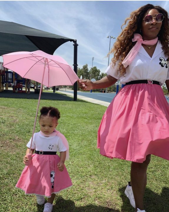 Serena Williams and daughter,Olympia Ohanian rocks matching pink Dress