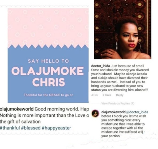 Olajumoke confirms divorce places curse of misfortunes she escaped on follower unclesuru 1