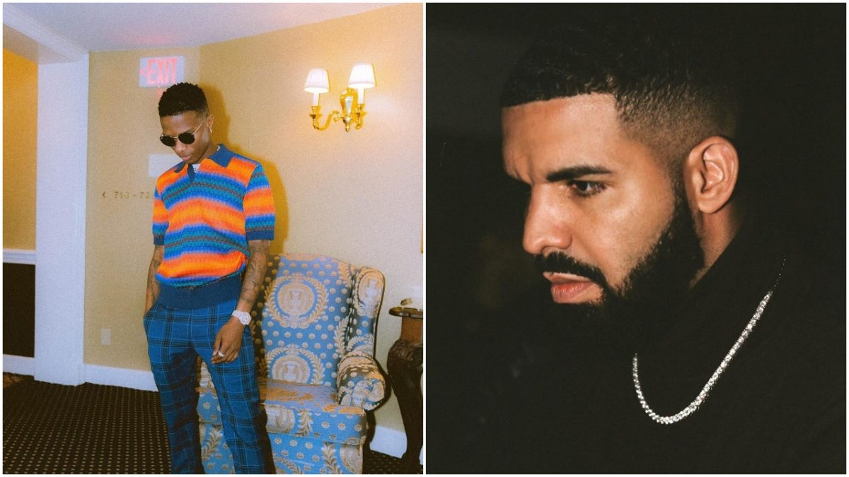 Drake and Wizkid perform hit song Come Closer together on stage at the 02 Arena London