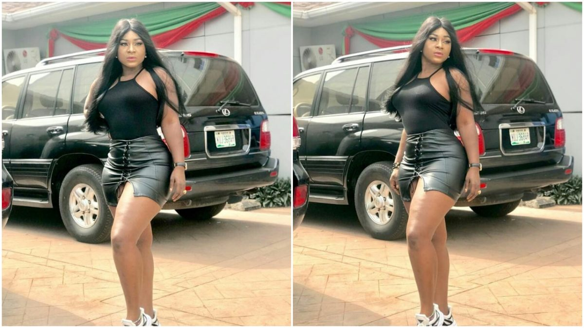 Curvy Nollywood Actress, Destiny Etiko Rocks Hot Black Mini Skirt