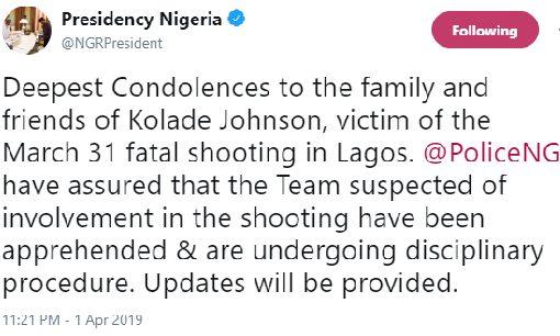 Presidency Speaks On Death Of Kolade Johnson