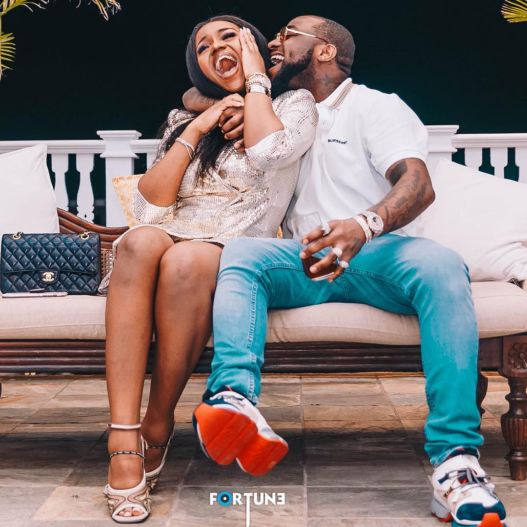 Davido reacts as fan says Chioma is lucky to have him