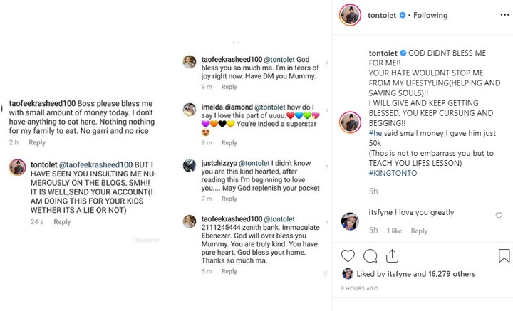 Tonto Dikeh Gives N50k To a Instagram Troll and Beggar Who Has Always Insulted Her