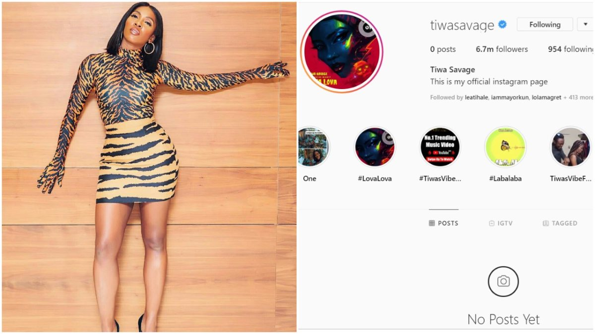 Tiwa Savage goes AWOL on social media, Deletes all her Instagram Photos again
